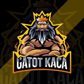 Gatot kaca mascotte logo conception de modèle esport