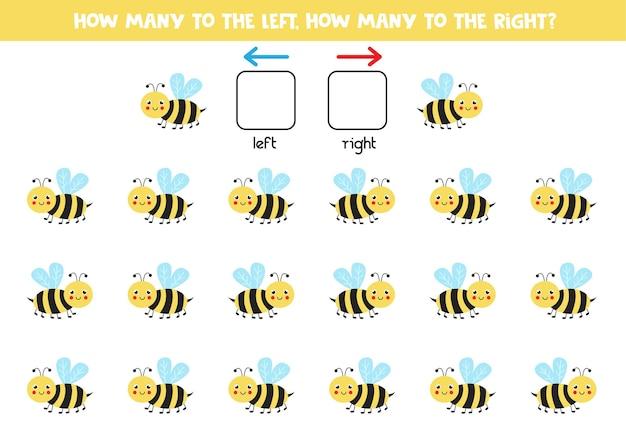 Gauche ou droite avec une abeille mignonne. jeu éducatif pour apprendre à gauche et à droite.