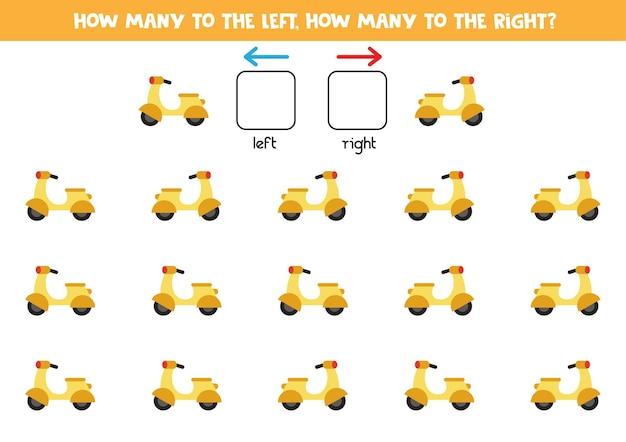 Gauche ou droite avec un cyclomoteur jaune de dessin animé. jeu éducatif pour apprendre à gauche et à droite.