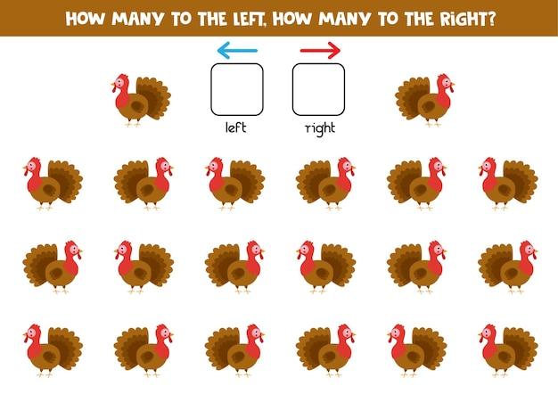 Gauche ou droite avec la dinde de dessin animé mignon. jeu éducatif pour apprendre à gauche et à droite.