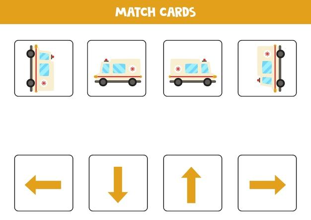 Gauche, droite, haut ou bas. orientation spatiale avec voiture d'ambulance de dessin animé.