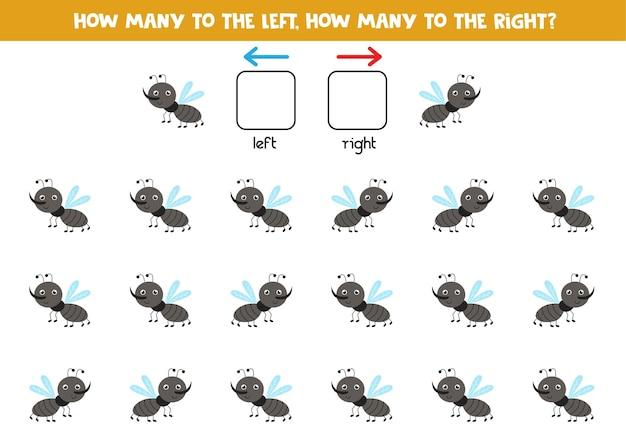 Gauche ou droite avec un moucheron mignon. jeu éducatif pour apprendre à gauche et à droite.