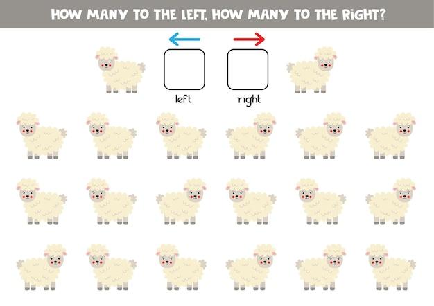 Gauche ou droite avec des moutons de dessin animé mignon. jeu éducatif pour apprendre à gauche et à droite.