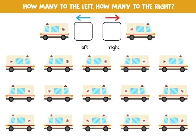 Gauche ou droite avec voiture d'ambulance de dessin animé. jeu éducatif pour apprendre à gauche et à droite.