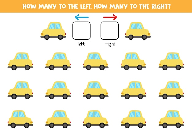 Gauche ou droite avec voiture jaune de dessin animé. jeu éducatif pour apprendre à gauche et à droite.