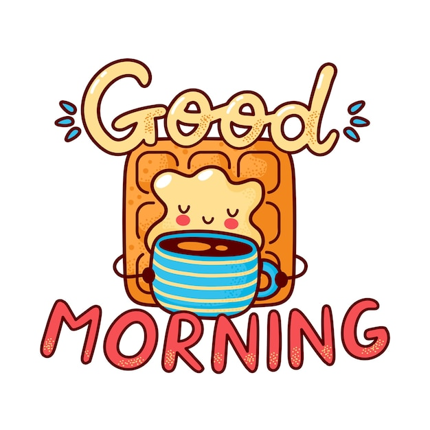 Gaufre heureux mignon boire du café. icône de personnage kawaii dessin animé ligne plate. illustration de style dessiné à la main. isolé sur fond blanc. bonjour carte, concept d'affiche de gaufres et de café
