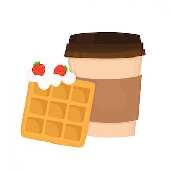 Gaufre viennoise avec crème fouettée et fraises et tasse à café. conception d'illustration de dessin animé plat. isolé sur fond blanc concept de dessert de restauration rapide