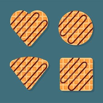 Gaufres viennoises ou belges de différentes formes avec garniture au chocolat