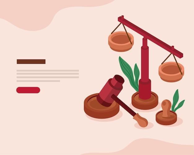 Gavel et icônes juridiques