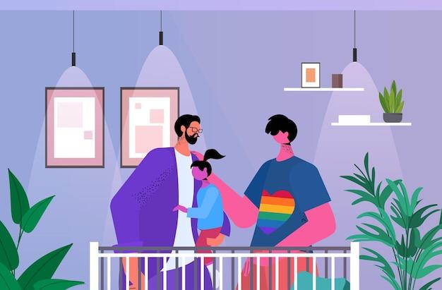 Gays family holding petite fille paternité transgenre amour communauté lgbt concept chambre intérieur portrait horizontal illustration vectorielle