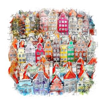 Gdansk pologne aquarelle croquis illustration dessinée à la main