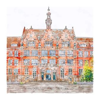 Gdansk pologne croquis aquarelle illustration dessinée à la main