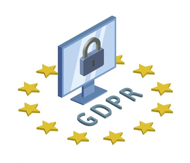Gdpr, illustration isométrique de concept. règlement général sur la protection des données. protection des données personnelles. écran d'ordinateur et verrouillage. emblème, sur blanc.