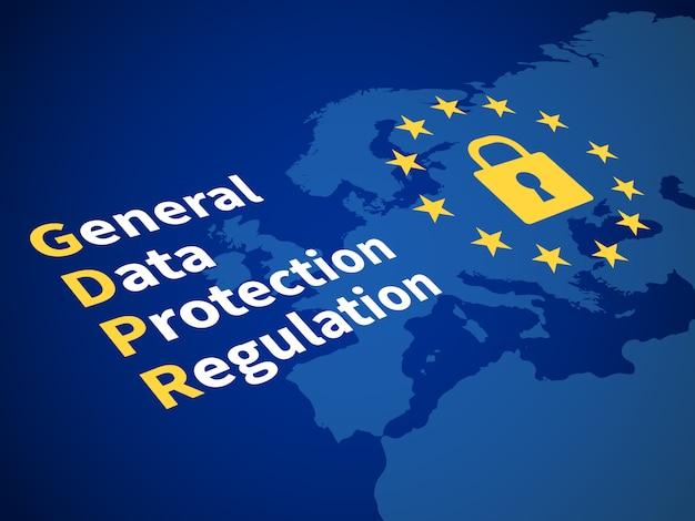 Gdpr règlement général de protection des données. réglementation européenne relative à la sauvegarde informatique et concept de vecteur de cryptage de données