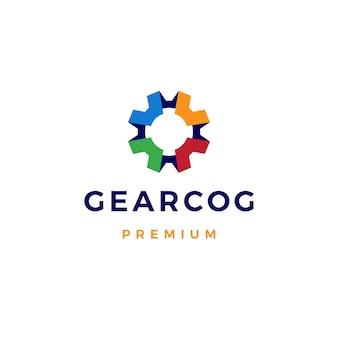 Gear cog cogs logo icône illustration
