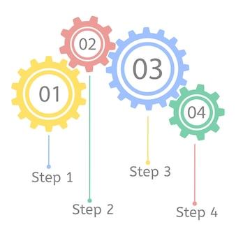 Gear concept statistique infographie modèle d'entreprise connexion roue dentée travail d'équipe étape par étape