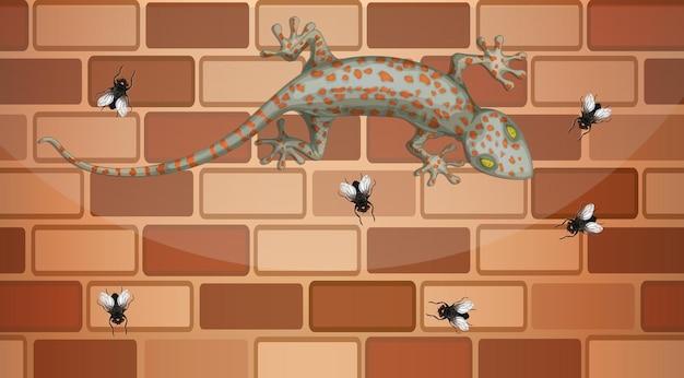 Gecko sur mur de briques avec beaucoup de mouches en style cartoon