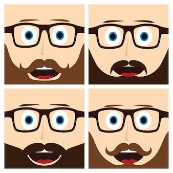 Geek moustache guy personnage de dessin animé - illustration vectorielle