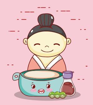 Geisha avec bol saké et petits pois nourriture kawaii dessin animé japonais, sushi et petits pains