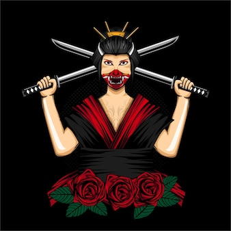 Geisha japon femmes avec onimask pour la conception de t-shirts