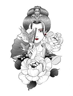 Geisha japonaise avec de beaux oiseaux sur l'éventail