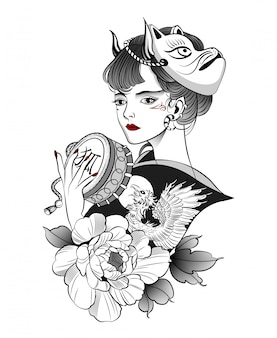 Geisha japonaise dans le masque d'un renard démon