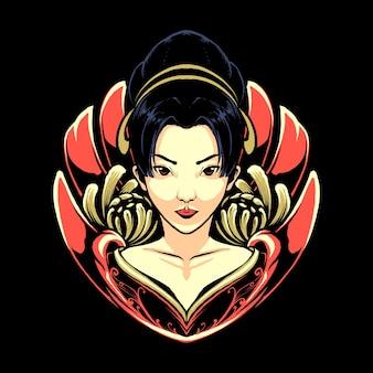 La geisha japonaise avec dragon