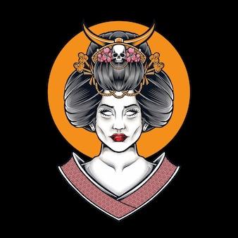 Geisha japonaise isolée sur fond noir