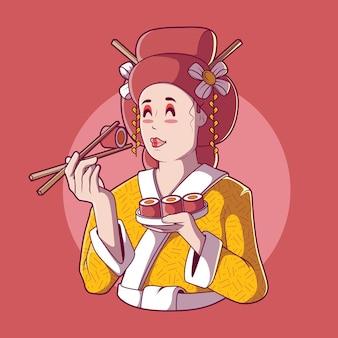 Geisha mangeant des sushis v