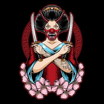 Geisha tenant katana illustration