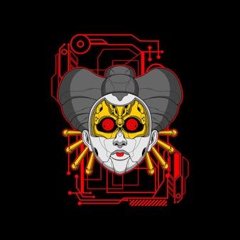 Geisha visage mécha