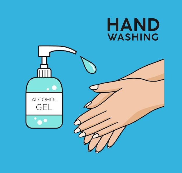 Gel d'alcool lavage des mains symbole fond coloré concept design illustration vectorielle