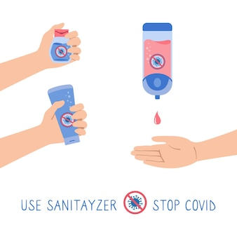 Gel mural désinfectant pour les mains, bouteille, jeu de dessins animés stop virus covid, les gens utilisent un antiseptique alcoolique automatique