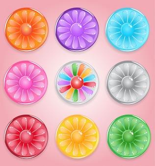 Gelée brillante de bonbons style bouton rond citron.