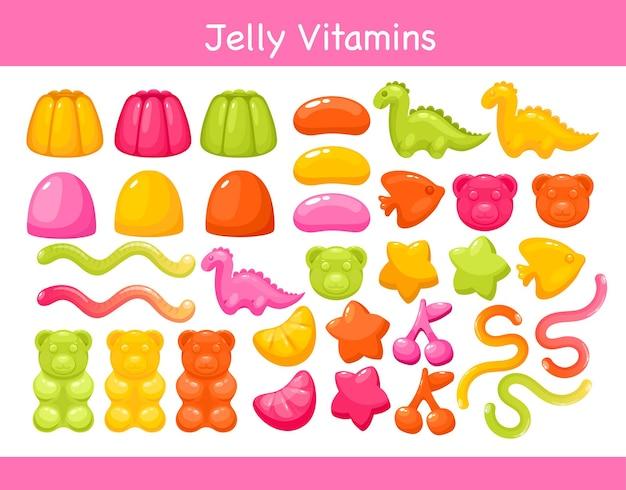 Gelée de vitamines à mâcher gommeuse avec jeu d'illustration de saveur de fruits.