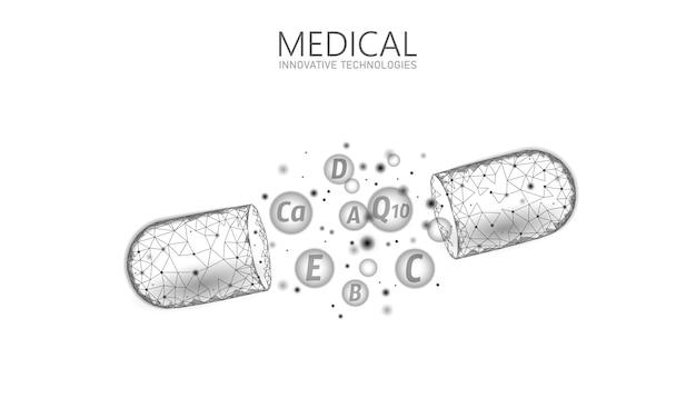 Gélule complexe poly vitaminé low poly. complément de santé modèle de bannière de pharmacie anti-âge de musculation de soins de la peau. coenzyme 3d q10, a, b, c, d. illustration de science de médecine