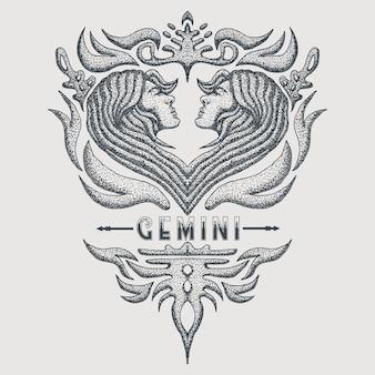 Gémini zodiac vintage