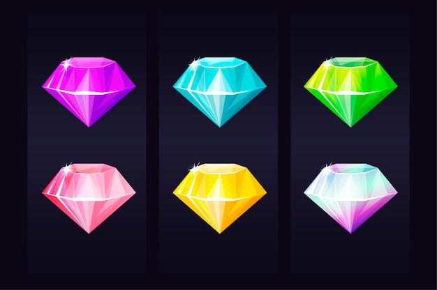 Gemme de bijou multicolore de diamant, bijoux précieux lumineux pour les jeux d'interface utilisateur