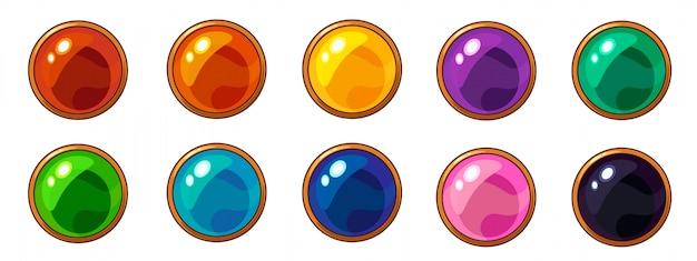 Gemme ronde colorée brillante avec cadre doré pour interface de jeu mobile