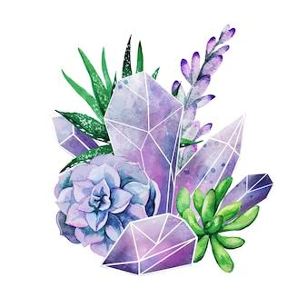 Gemmes de cristal avec des plantes succulentes, art décoratif en couleur, composition mignonne, illustration aquarelle dessinée à la main