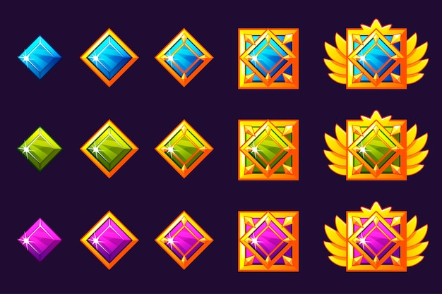 Les gemmes récompensent les progrès. amulettes dorées serties de bijoux carrés. actifs d'icônes pour la conception de jeux.