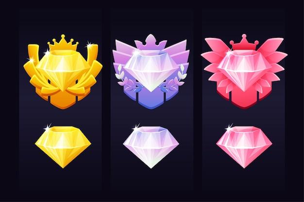 Gemmes de réussite pour le jeu, emblèmes de récompense pour le gagnant. illustration définie des icônes de diamants de luxe.