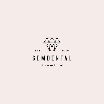 Gems dentaires logo hipster retro vintage pour dentiste et dentiste