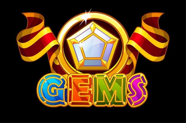 Gems logo et icônes jewerl pierres avec ruban rouge. inscription lumineuse et bijou pentagonal.