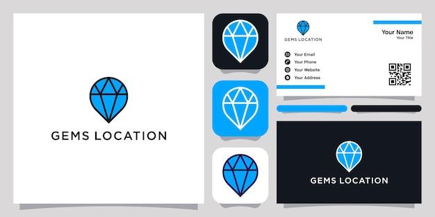 Gems pin logo icône symbole modèle logo et carte de visite