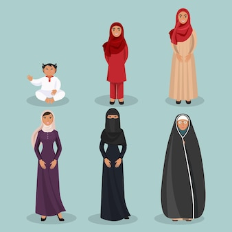 Des générations de femmes arabes, de l'enfant à la personne âgée, portant des vêtements ethniques traditionnels pour tous les âges et tous les statuts sociaux, ensemble d'illustrations vectorielles isolées.