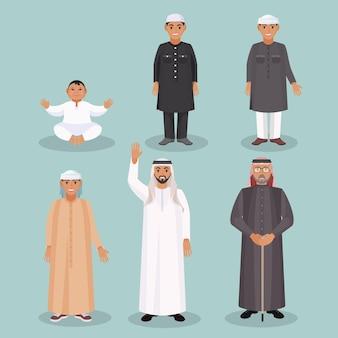 Des générations d'hommes arabes, de l'enfant à la personne âgée, vêtus de vêtements ethniques traditionnels pour tous les âges et tous les statuts sociaux, ensemble d'illustrations vectorielles isolées.