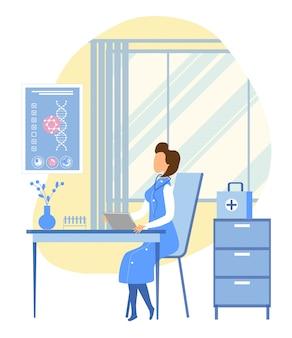 Une généticienne explore l'adn du patient dans la salle des professeurs