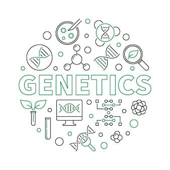 Génétique ronde illustration avec des icônes de ligne d'adn