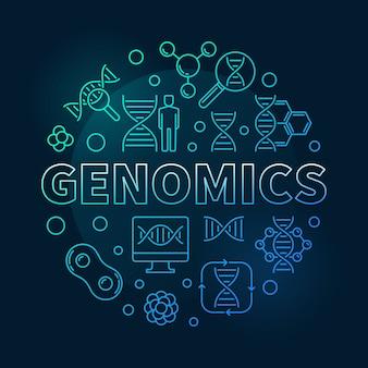 Génomique ronde bleu concept contour icône illustration